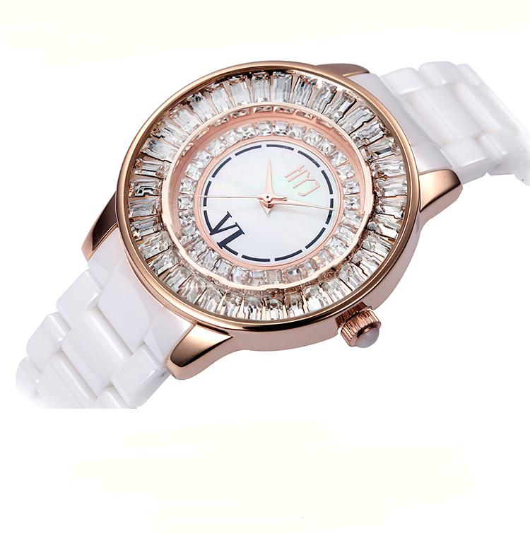 top Luxury Brand Crystal Ceramic Dial Bracelet Quartz Wrist Watch specia Gift for Ladies Women Gold Rose Gold h256 free shipping<br><br>Aliexpress