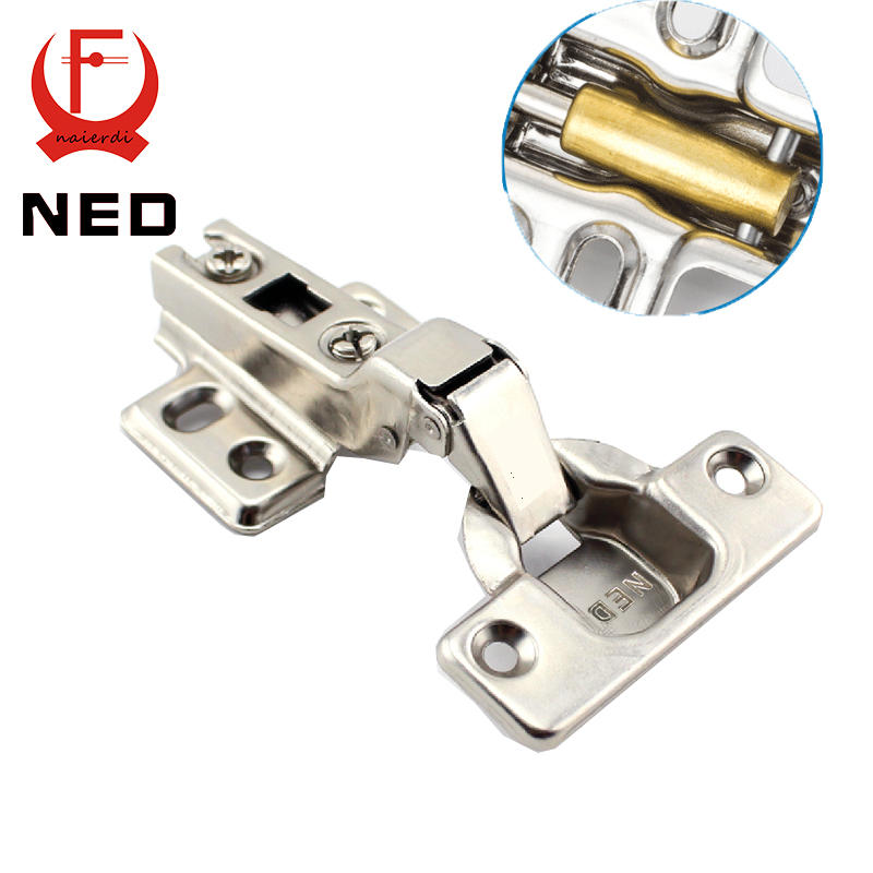 NED Furniture Hardware Half Overlay Hinge 304 Stainless Steel Pure Copper Hydraulic Damper Buffer Cabinet Cupboard Door Hinges(China (Mainland))