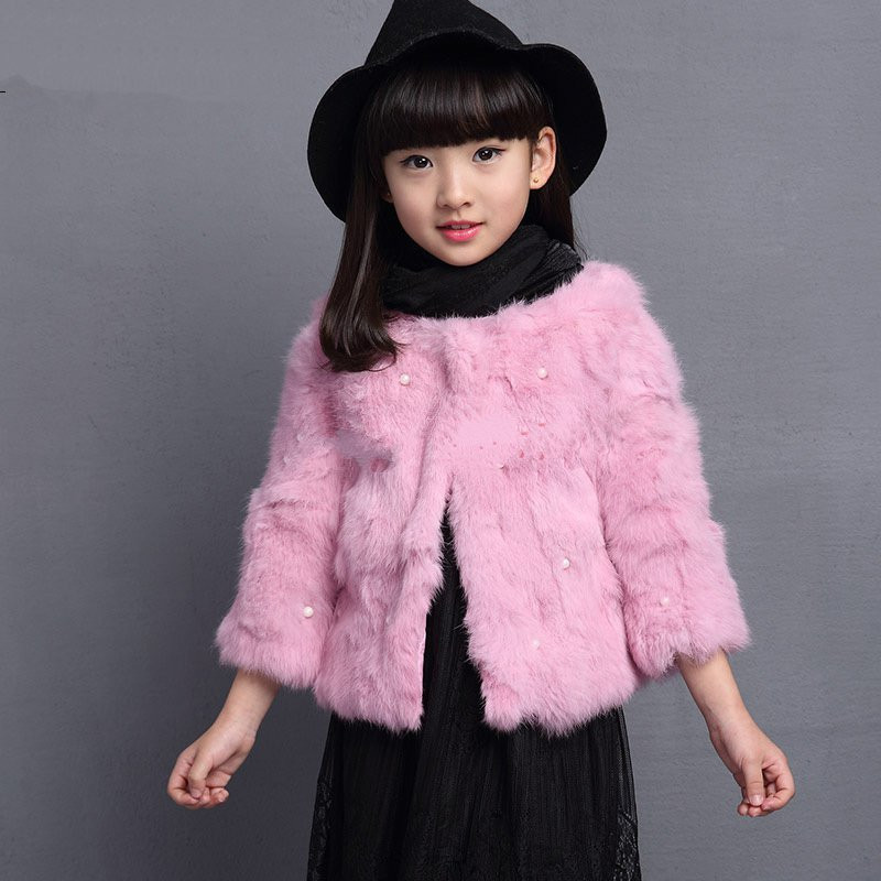 2016Real Rabbit Fur Short Baby Coat ChildrenGirls Autumn and Winter Rex Rabbit fur Clothes Variety of Color Solid Kids Warm Coat(China (Mainland))