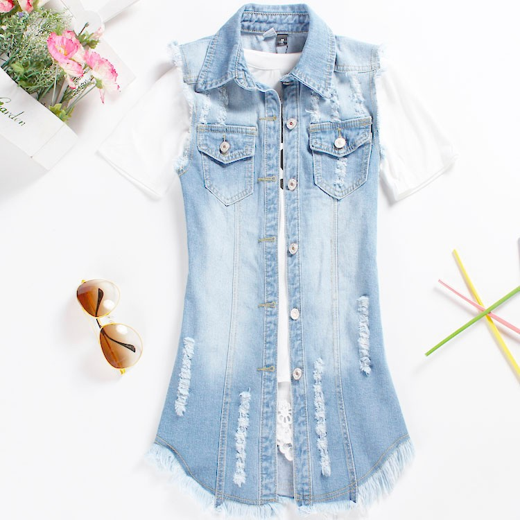 2015 Summer new female denim vest korean style women sleeveless long jeans vests jacket casual woman cowboy clothes big size 5XL (8)