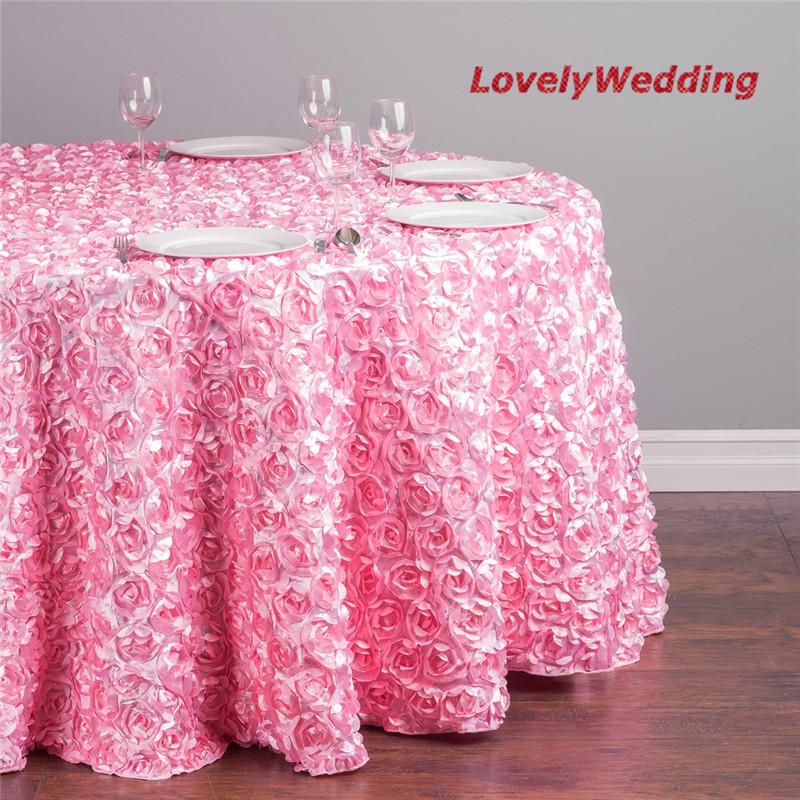 Diam tre 102 luxe rond rose broderie linge de table de table de mariage d coration 5 pcs lote Linge de table luxe