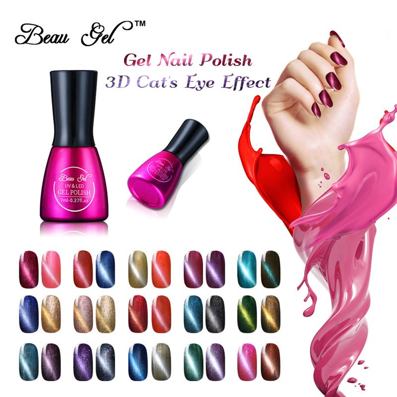 Beau Gel UV Nails Cats Eye Gel Polish Long Lasting UV Semi Permanent Polish Gel Varnish Magnet Cat Eye Gel Polish 7ML/Pcs(China (Mainland))