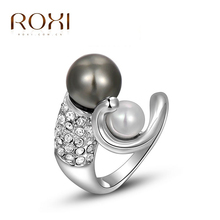 ROXI exquisite Gold plated black pearl ring,fashion jewelry,free shipping,Christmas gift,high quality,hot sell,wholesale