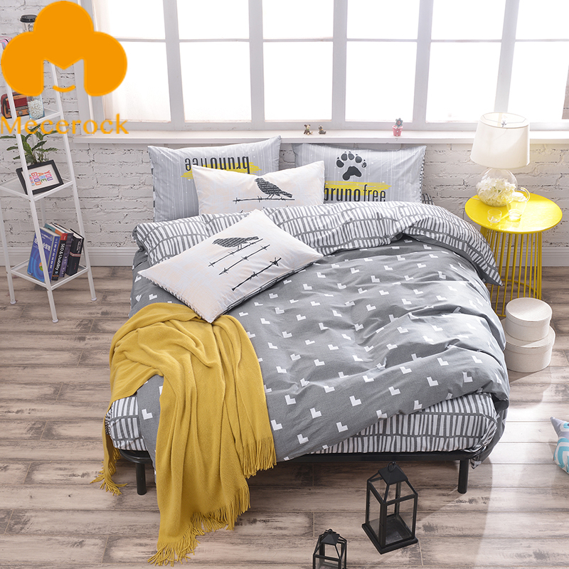 2017 MECEROCK 100%Cotton Bedding Sets Fresh Brief Blanket/Duvet Cover Sets Luxury Bed Linens Simple Style Flat Sheet Pillowcases(China (Mainland))