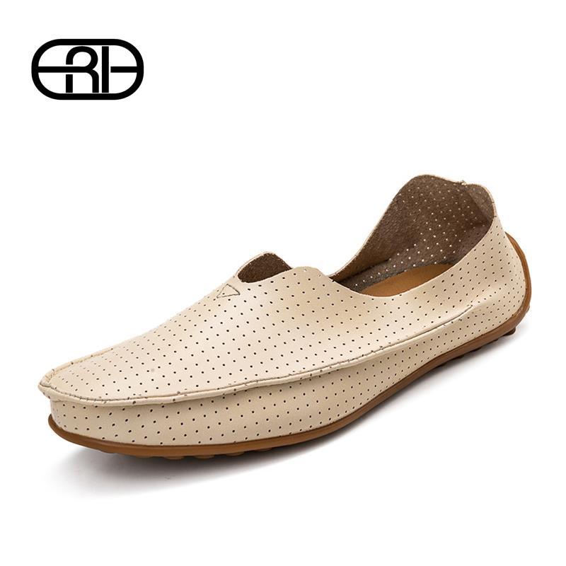 Hollow out Breathable cowhide new 2015 summer Genuine Leather High quality fashion shoes men sneakers Casual Flat Loafer shoes(China (Mainland))