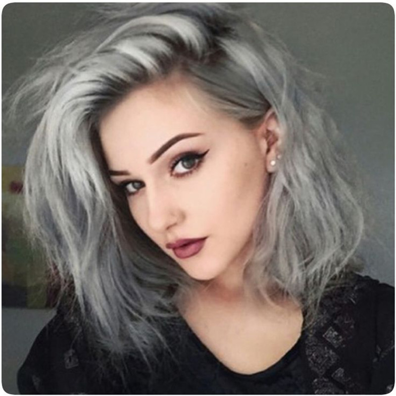 Free Shipping heat resistant hair wig two tone ombre color glueless black gray  straight synthetic lace front wig<br><br>Aliexpress