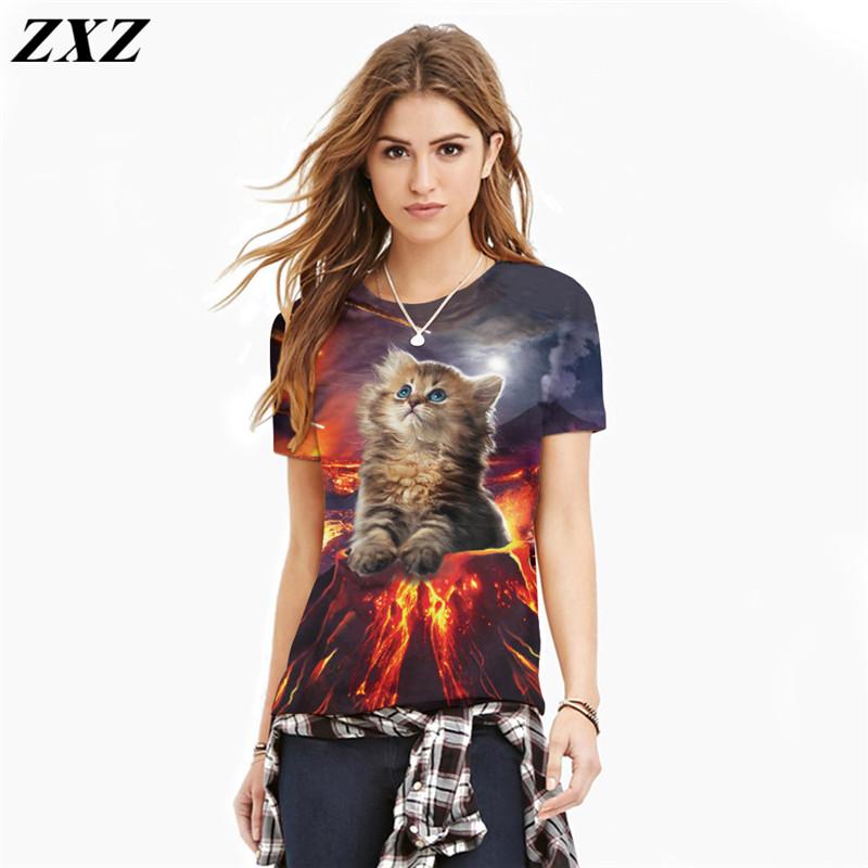 Summer Women dress Fashion Cat lovely tee shirt women print 3d T shirt Summer harajuku casual