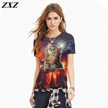 Summer Women dress Fashion Cat lovely tee shirt women print 3d T-shirt Summer harajuku casual Tshirt plus size