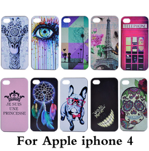 New Luxury Eiffel Tower cartoon smiley paint PC mobile phone cover For Apple iphone 4 4s case Shell