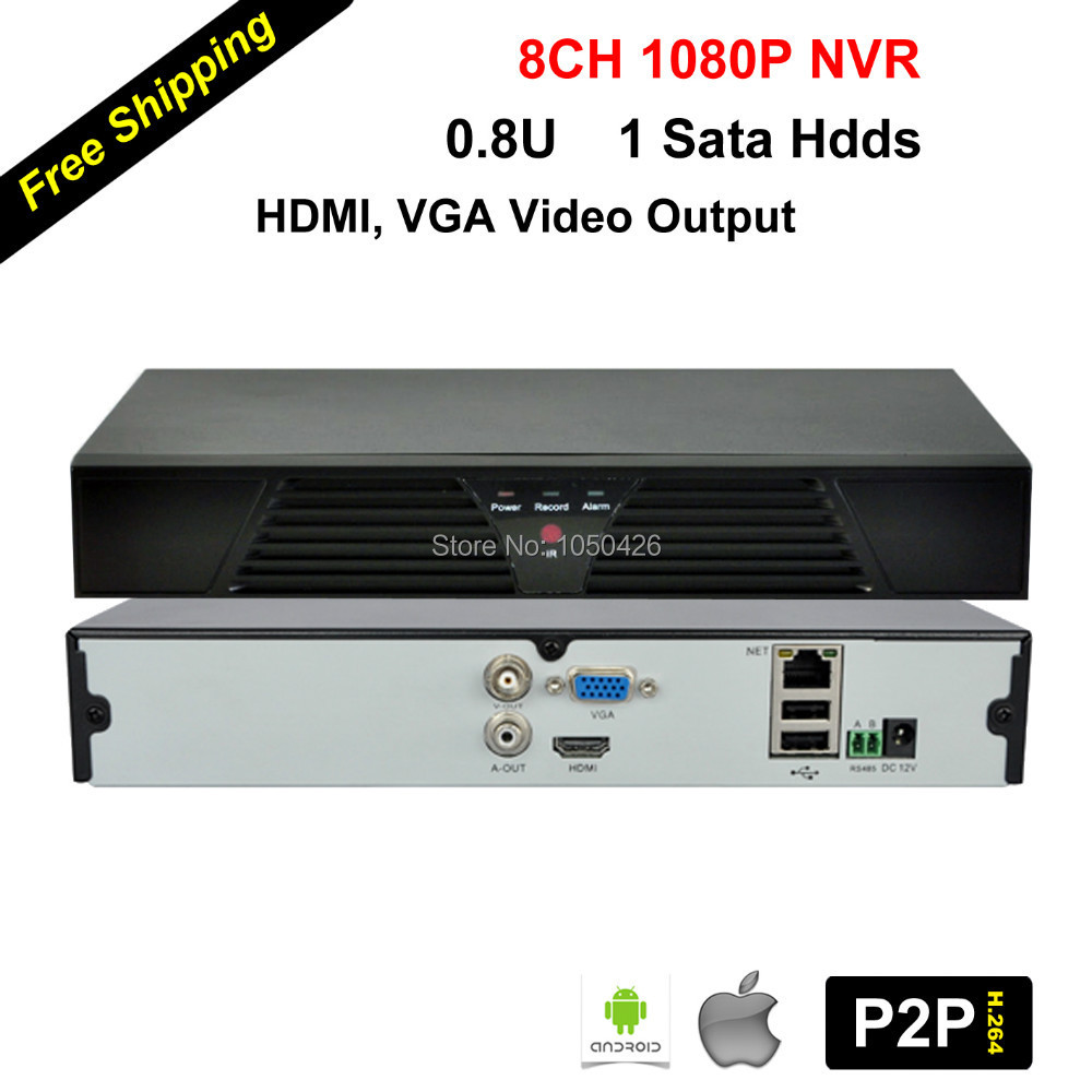 CCTV Видеорегистратор HOKVS 0.8U 8/1 sata 720 p 960 p 1080 p Onvif P2P NVR cctv HK-N8B misecu new 4ch 8ch mini nvr full hd real p2p standalone cctv nvr 1920 1080p onvif for 1080p 960p 720p ip camera security system