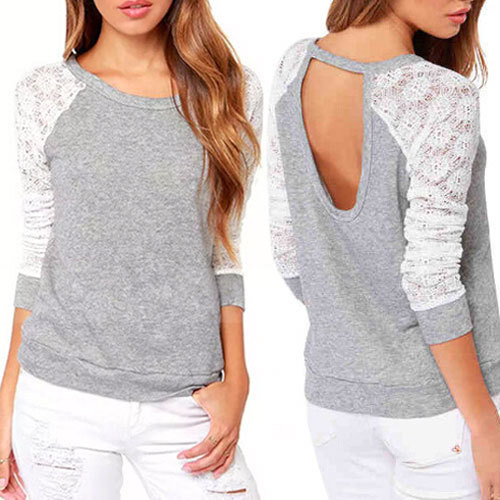 New 2015 Spring Autumn Women Backless Embroidery Lace Casual Hoodies Long Sleeve Sweatshirts Ladies Euro Style Pullovers WF-690(China (Mainland))