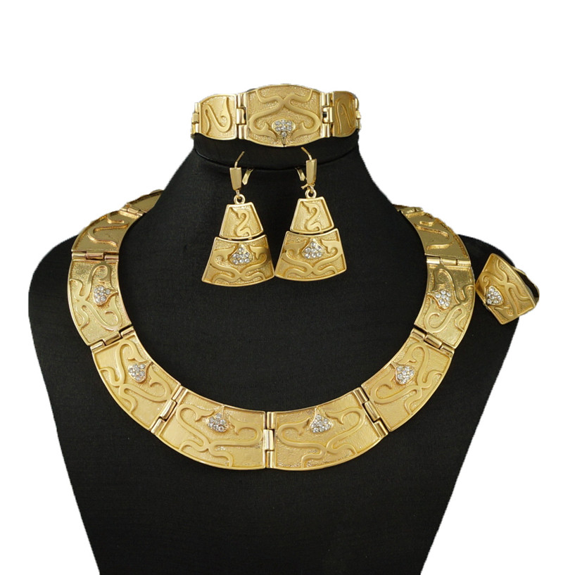 african necklace bead jewelry sets gold african jewelry set african wholesale jewelry(China (Mainland))