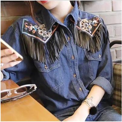 Ladies Fringed Denim Shirts Long Sleeve Blue Jeans Shirt Women Blusas Camisa Femininas Fashion 2016 Spring Tassel Jeans BlousesОдежда и ак�е��уары<br><br><br>Aliexpress