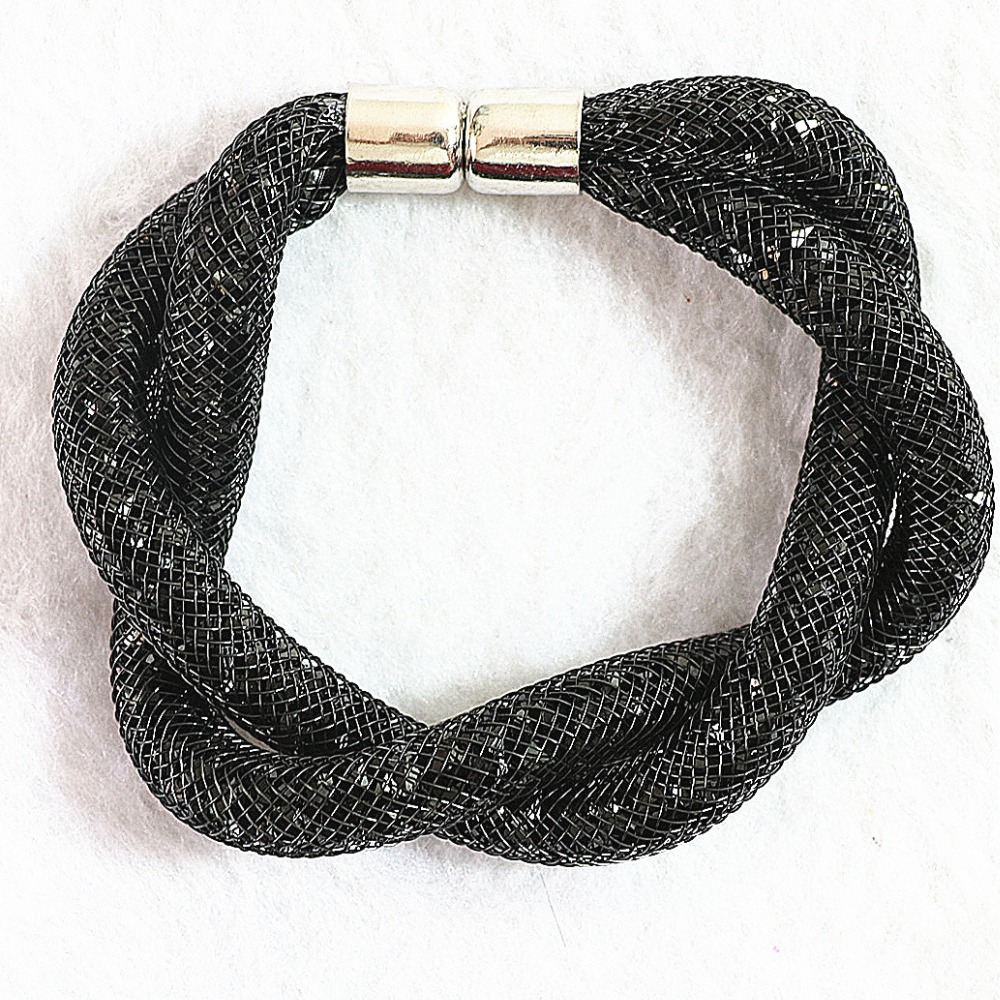 Black mesh wrap stardust bracelets with crystal stones Filled Magnetic Clasp B663-1(China (Mainland))