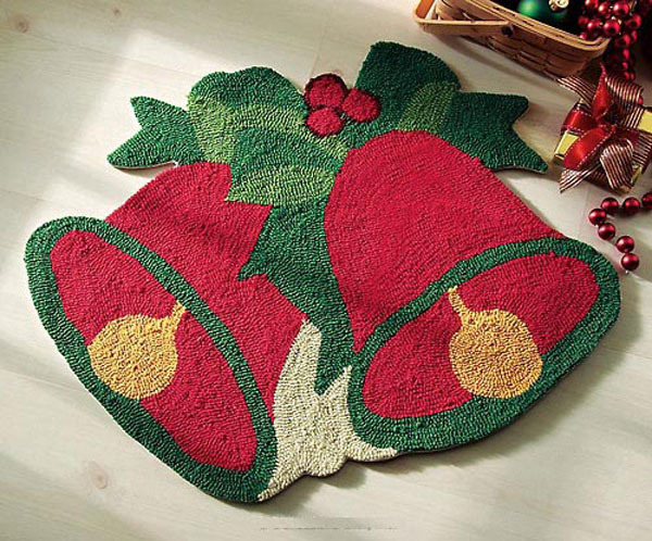 Arts Hand-woven Carpets Christmas Gift Decoration Red Bell Creative Home Mats Discounted(China (Mainland))