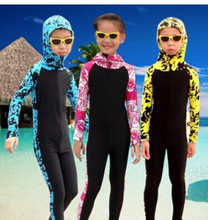 SBART Wetsuit Kids Long Sleeve Hooded Floral Diving Suit Full Body Swimwear Lycra Surf Wetsuits Children Surfing Wet Suits(China (Mainland))