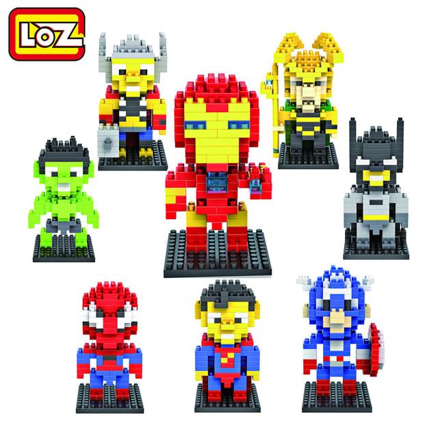 Loz алмазов строительные блоки мстители паук супермен бэтмен железный человек игрушки детям подарок бесплатная доставка 9 +