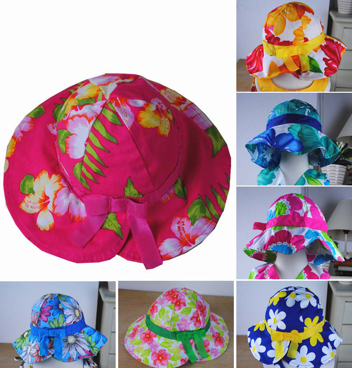 Wholesale spring 2015 new arrive 5pcs/lot Lovely Sunflower Kids Girls Casual Children Beach Sun Straw Hat Cap fit 1-6 Year child(China (Mainland))