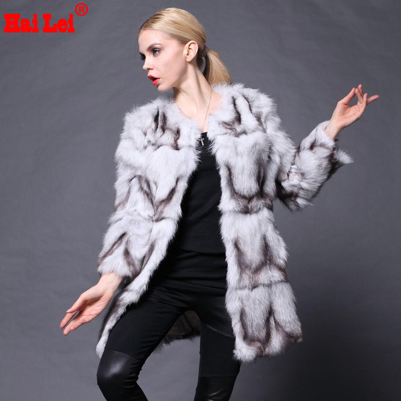 Arrivals 2015 Women Genuine Fox Fur Coats Warm Winter Real Jackets Natural Coat Women's Fashion Garment Big Size