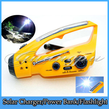 Free Shipping Solar Powered Dynamo Hand Winding Alarm Emergency LED Flashlight Torch AM/FM Radio & Phone Charger Camping Torch