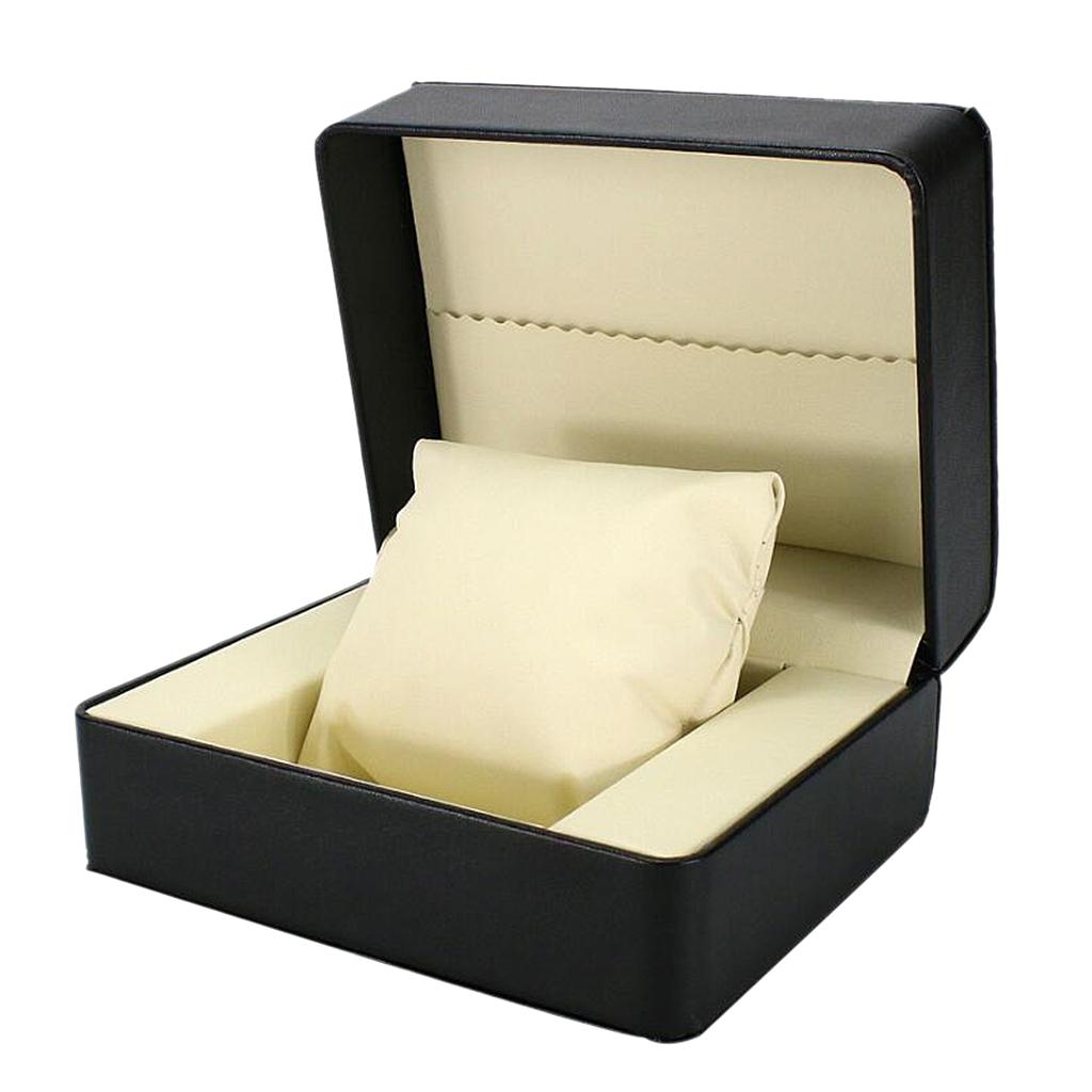 Black PU Leather Single Slot Watch Bangle Case Wristwatch Box Organizer Gift Removable Cushion Watch Boxs 14 x 11 x 7cm