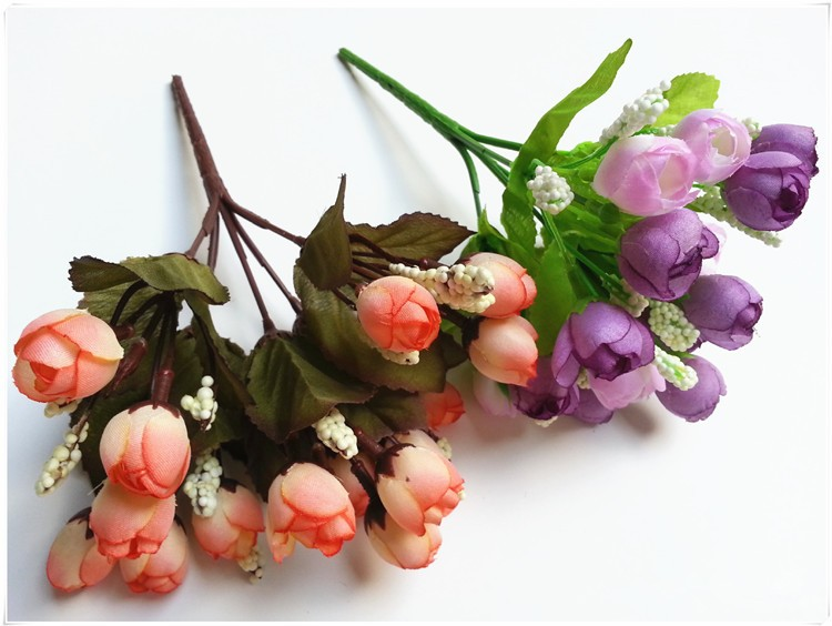 Colorful Silk Flowers artificial flower 15 heads Mini Rose Home Decor for wedding small roses bouquet decoration (41)