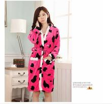Free shipping autumn and winter flannel pajamas piece fitted ladies tracksuit sling nightgown bathrobe fertilizer to increase 45(China (Mainland))