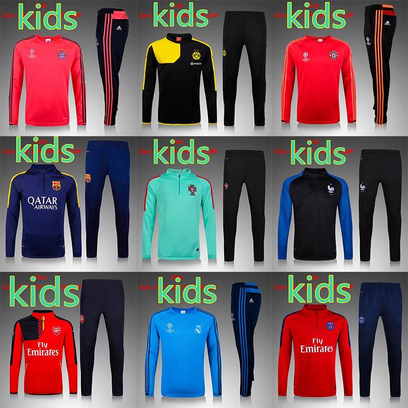 Custom Soccer Uniform 2016 Survetement Football Kids Football Jerseys Sets Long Sleeve Youth Children Boy Football Suit(China (Mainland))