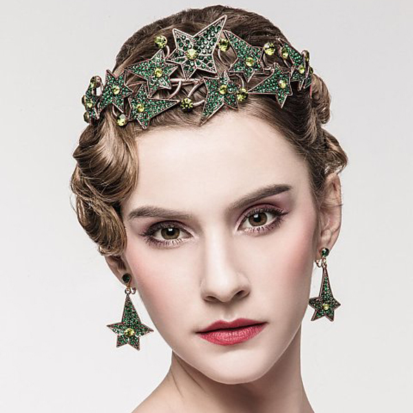 Chic Regal Showy Vintage Special 18K Antique Gold Plated Green Rhinestones Stars King Crown Veil Crowns For Wedding Prom Parties