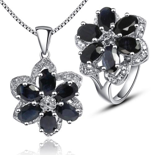 Fashion cute midnight blue sapphire flower shape jewelry sets ring genuine gem stone pendant necklace sterling 925 silver<br><br>Aliexpress