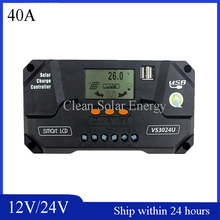 High quality 12/24V 40A PWM Solar charge controller Panel Battery Regulator with Pad Charging Port
