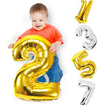 Buy 32inch Gold Silver Number Balloon Aluminum Foil Helium Balloons Happy Birthday Valentines Day Wedding Party Supplies Decoration for $1.40 in AliExpress store