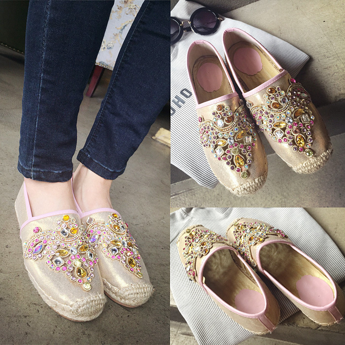 2015 fashion diamond low with the flat square leather shoes and beaded fisherman shoes