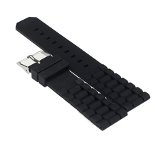 Excellent Quality New Arrival Soft Durable Black Silicone Black Men Watch Strap Band 20/22mm Watchband