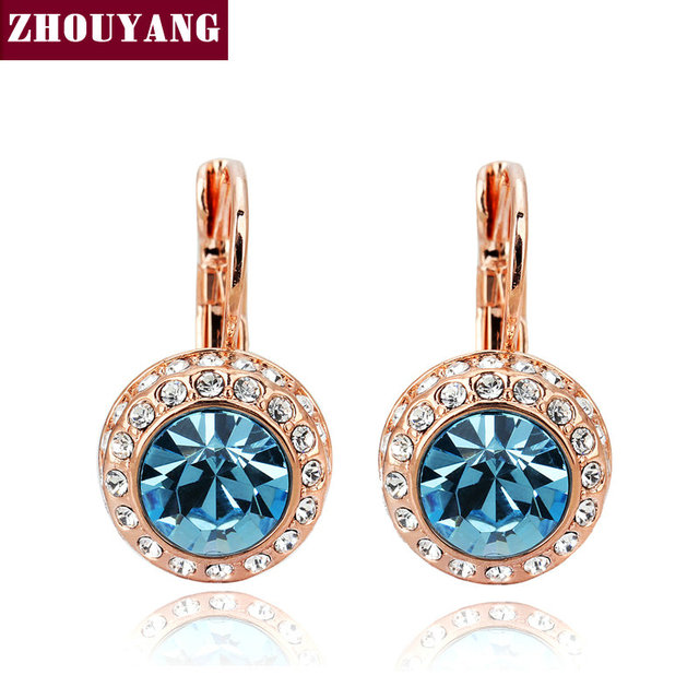 Top Quality Blue Moon River 18K Rose Gold Plated Drop Earrings Genuine  Austrian Crystal Wholesale ZYE074
