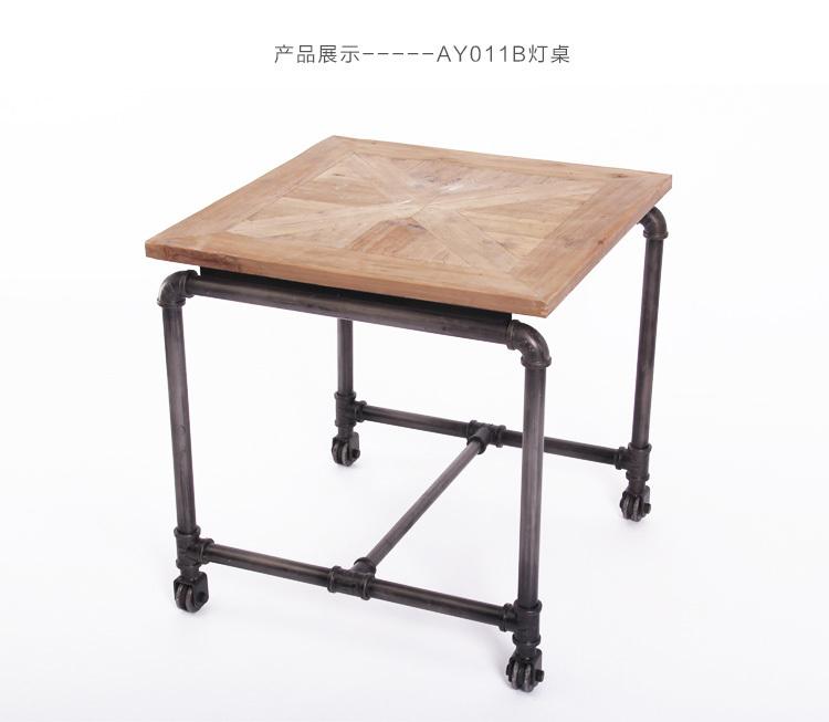 Industrial Coffee Table Lamp: American Village Phone Table Vintage Wood Furniture Tea