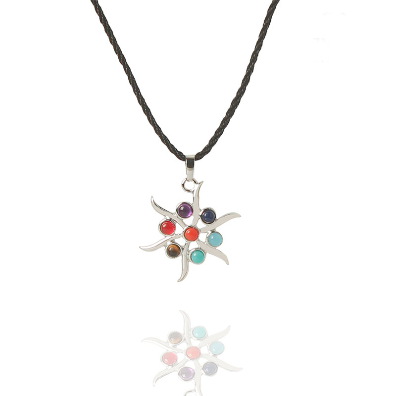 unsex personality flower Colorful beads pendant Yoga beads energy Silver Nylon rope chakra Necklace Gift,crystal necklace(China (Mainland))