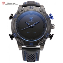 Buy Kitefin Shark Sport Watch Black Blue Stainless Steel Case LED Analog Quartz Auto Date Day Leather Strap Mens Army Watches /SH232 for $44.99 in AliExpress store