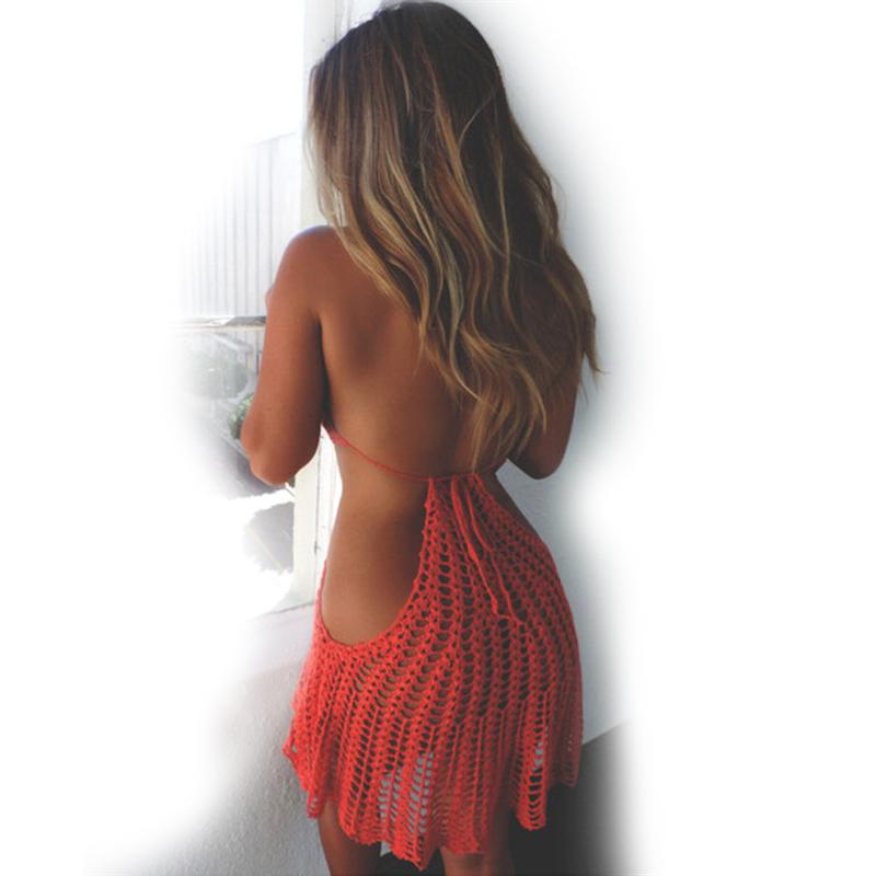 2017 Women Bikini Crochet Sexy Red black Openwork Cover Ups Knit Backless Halter Bathing Suit Swimsuit Swimwear Beach Dress(China (Mainland))
