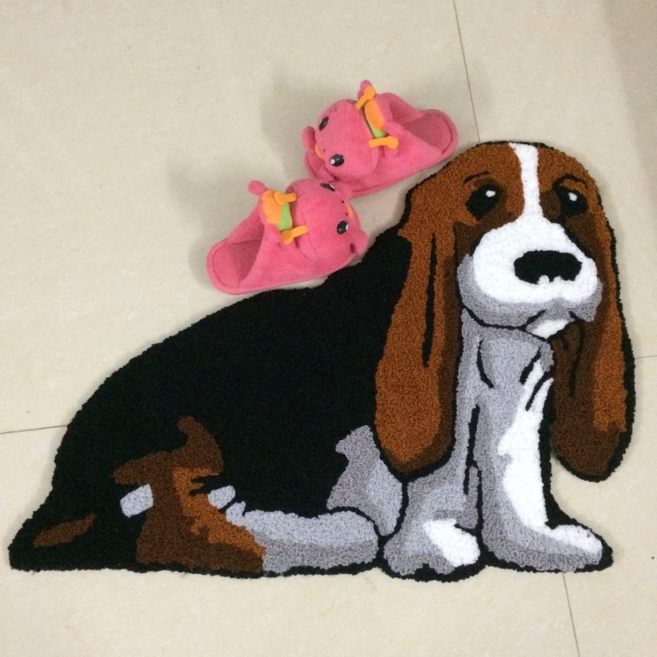 Oem Service Lovely Yellow Dog Carpet Animal Slip Mat Bedroom Warm Pad Bed Tapetes De Sala Alfombras Rugs And Carpets(China (Mainland))