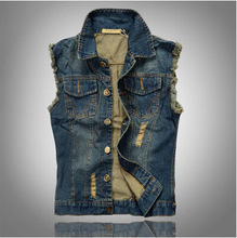 New Arrival Men's Denim Vest Brand Jeans Vest Men Cowboy Vest Denim Sleeveless Jacket Plus Size Free Shipping(China (Mainland))