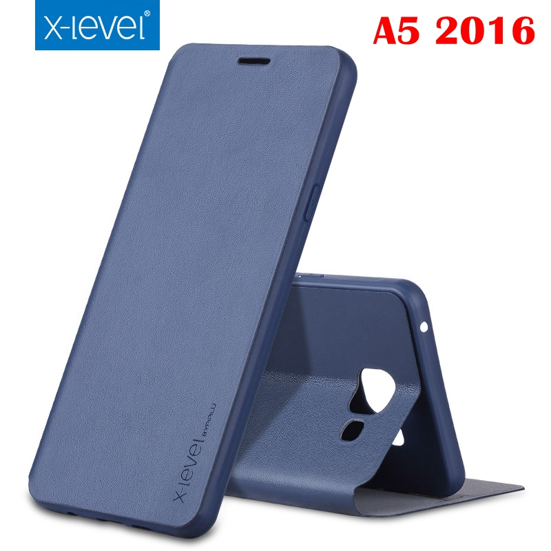 Luxury X-Level High-quality Classic Flip Leather Case For Samsung Galaxy A5 2016 A5100 A510F with Retail Box