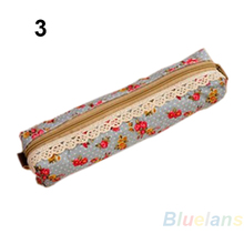 Fashion Mini Retro Flower Floral Lace Pencil Shape Pen Case Cosmetic Makeup Make Up Bag Zipper