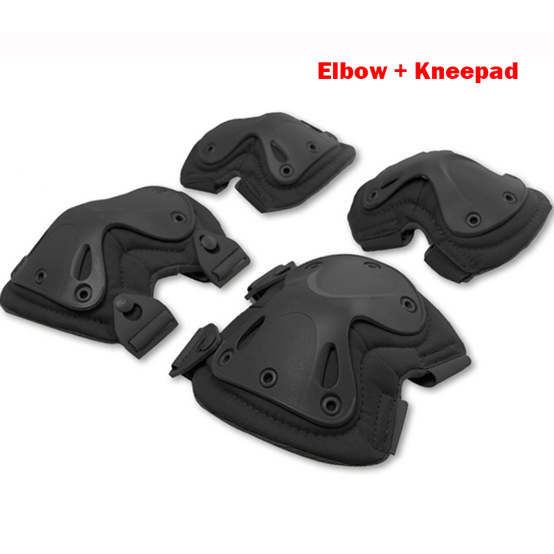 5 Color Airsoft Tactical Adjustable Knee & Elbow Protective Pads Set Protector Gear Sports Hunting Shooting Pads Good Quality(China (Mainland))