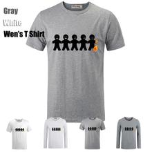 Cute Fashion Simple Style Funny 5 Burning Person Pattern Printed T-Shirt Men's Boy's Graphic Tee Tops Grey White Red