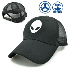 2016 aliens saucer man E.T UFO fans embroidery black summer mesh eyelet breathable trucker cool baseball cap hat for adult men(China (Mainland))