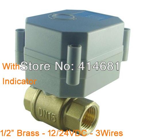 Гаджет  motorized ball valve DN15 brass,2 way electrical valve,12V / 24V DC for selection,NPT/BSP thread available,3 wires None Строительство и Недвижимость