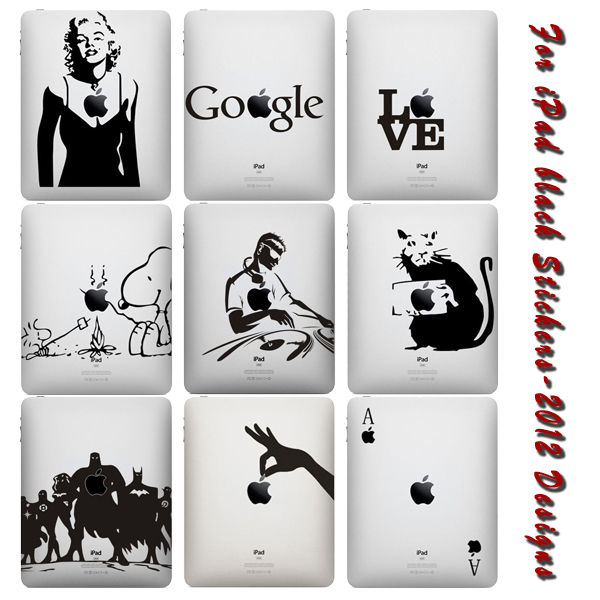 Free Shipping New Design Black and White Vinyl Backside Sticker for iPad Decal Sticker Skin(China (Mainland))