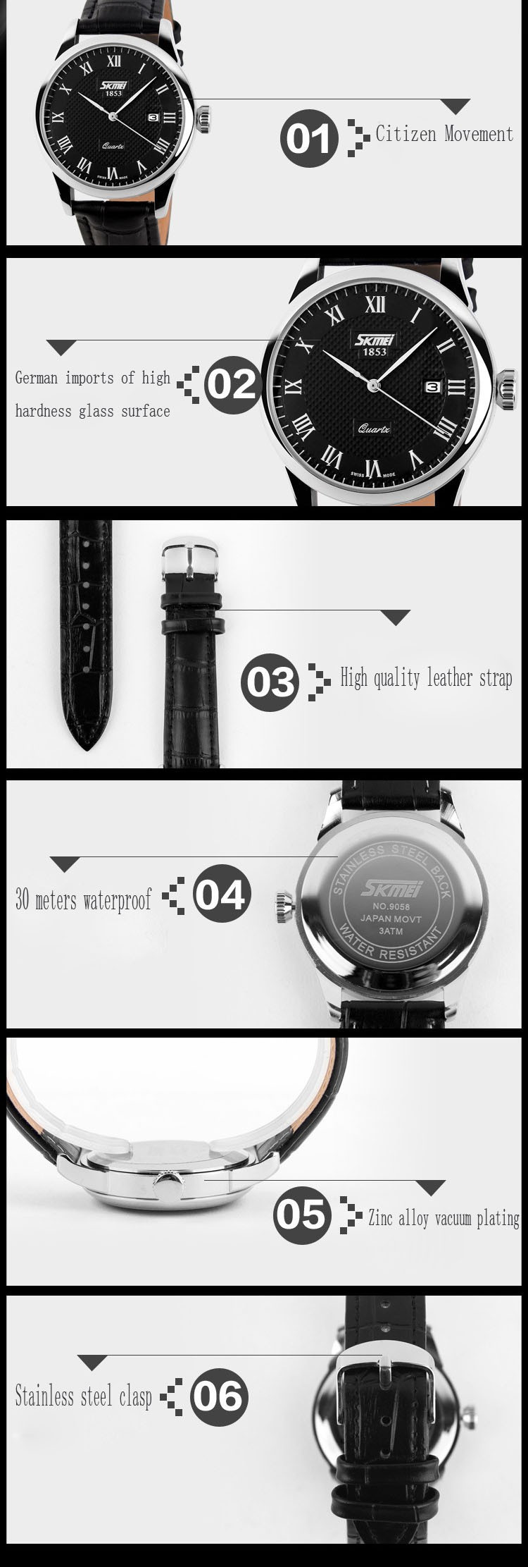 SKMEI Марка 9058 Кварц Часы Женщины Авто дата Наручные Часы Кожаный Ремешок Женские Часы