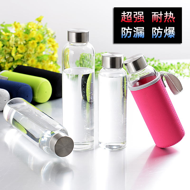 2015 hot sale 500ml glass water bottle food safe fashion sport bottle space tea cup water bottle with filter Infuser Water Bottl(China (Mainland))